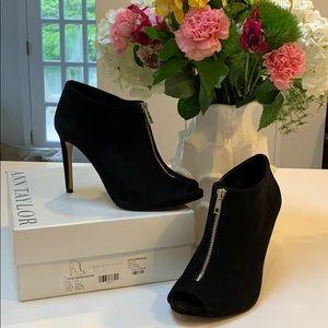 Black suede zipper stiletto bootie